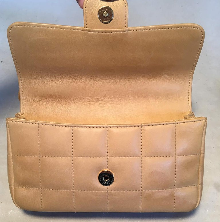 Chanel Quilted Tan Mini Camellia Classic Flap Shoulder Bag For Sale 1
