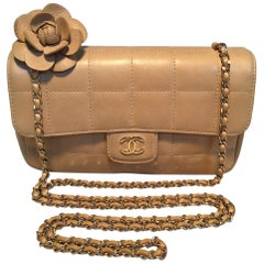 Chanel Quilted Tan Mini Camellia Classic Flap Shoulder Bag
