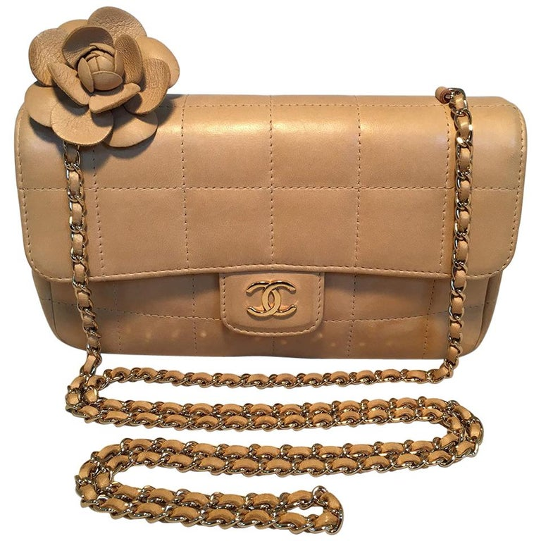 Chanel Quilted Tan Mini Camellia Classic Flap Shoulder Bag For Sale
