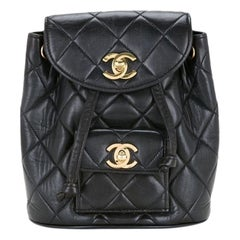 Chanel Quilted Vintage 1994 Micro Mini Rucksack Black Lambskin Leather Backpack