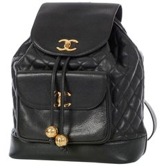 Chanel Quilted Vintage 90s Black Caviar Leather Backpack