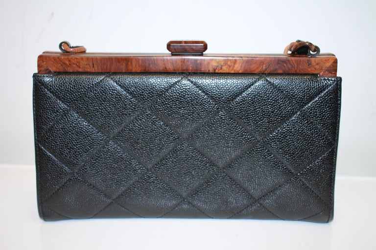 Chanel Quilted Wood Frame Bag In Excellent Condition For Sale In Roslyn, NY