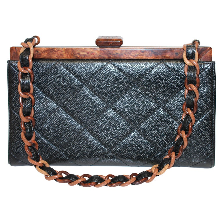 Chanel Quilted Wood Frame Bag For Sale