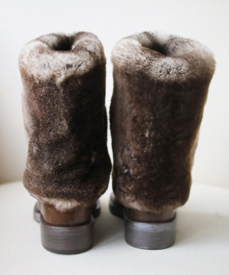 Chanel Rabbit-Fur and Leather Ankle Boots In New Condition For Sale In London, GB
