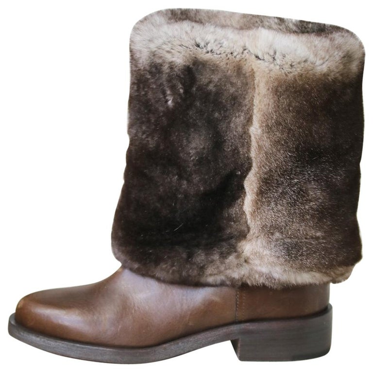 Chanel Rabbit-Fur and Leather Ankle Boots For Sale