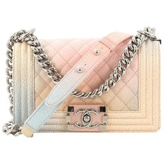 Chanel Rainbow Boy Flap Bag Quilted Painted Caviar Small