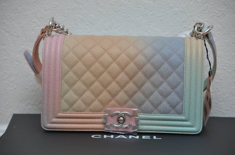 6a5eb62af3effb Gray Chanel Rainbow Old Medium Crossbody Pink Caviar Boy Bag, 2018 For Sale