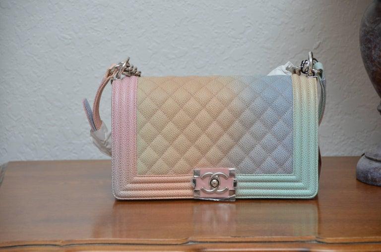 e831657e9efeb0 Chanel Rainbow Old Medium Crossbody Pink Caviar Boy Bag, 2018 For Sale 2