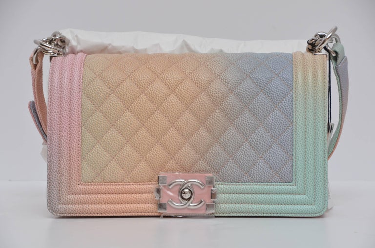 78d9766038b469 Chanel Rainbow Old Medium Crossbody Pink Caviar Boy Bag, 2018 In New  Condition For Sale