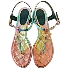 CHANEL Rainbow Sandals 2020 - Size 39.5c (UK6.5c)