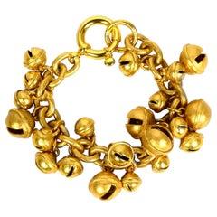 Chanel RARE 1995 Iconic Vintage Gold CC Bell Charm Bracelet