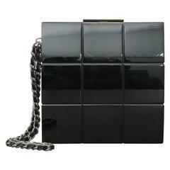 Chanel Rare 2002s Black Perspex Lucite Minaudiere Clutch / Chain Wristlet
