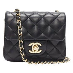 CHANEL rare 2.55 black quilted leather gold hardware CC turn lock flap micro bag
