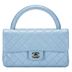 Chanel Rare 90's Vintage Quilted Light Blue Lambskin Top Handle Classic Flap Bag