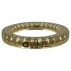 Chanel Rare Authentic Lucite Faux Pearl Bangle Bracelet