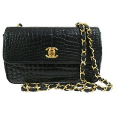 Chanel Rare Black Crocodile Leather Gold Evening Clutch Small Shoulder Flap Bag