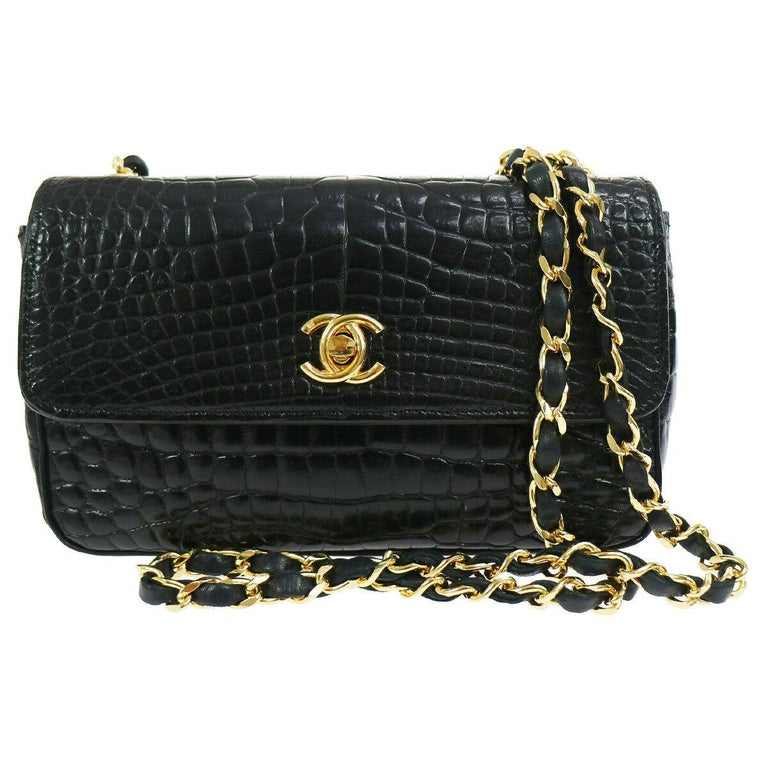 a19196cd950f Chanel Rare Black Crocodile Leather Gold Evening Clutch Small Shoulder Flap  Bag For Sale
