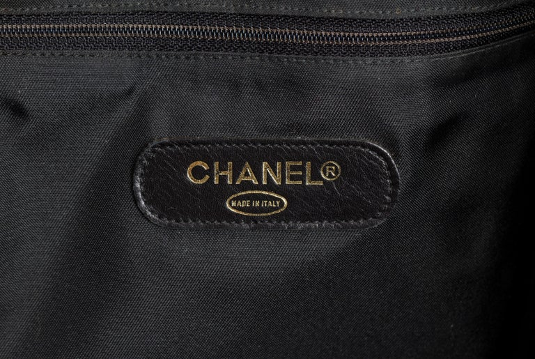 Chanel Rare Black Diamond Quilted Duffle Travel Bag For Sale 6