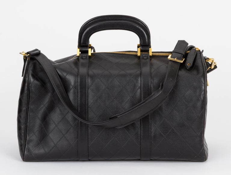 Chanel Rare Black Diamond Quilted Duffle Travel Bag In Excellent Condition For Sale In Los Angeles, CA