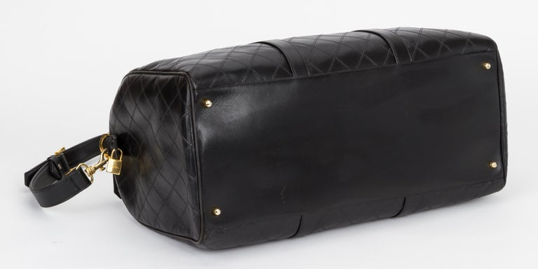 Women's Chanel Rare Black Diamond Quilted Duffle Travel Bag