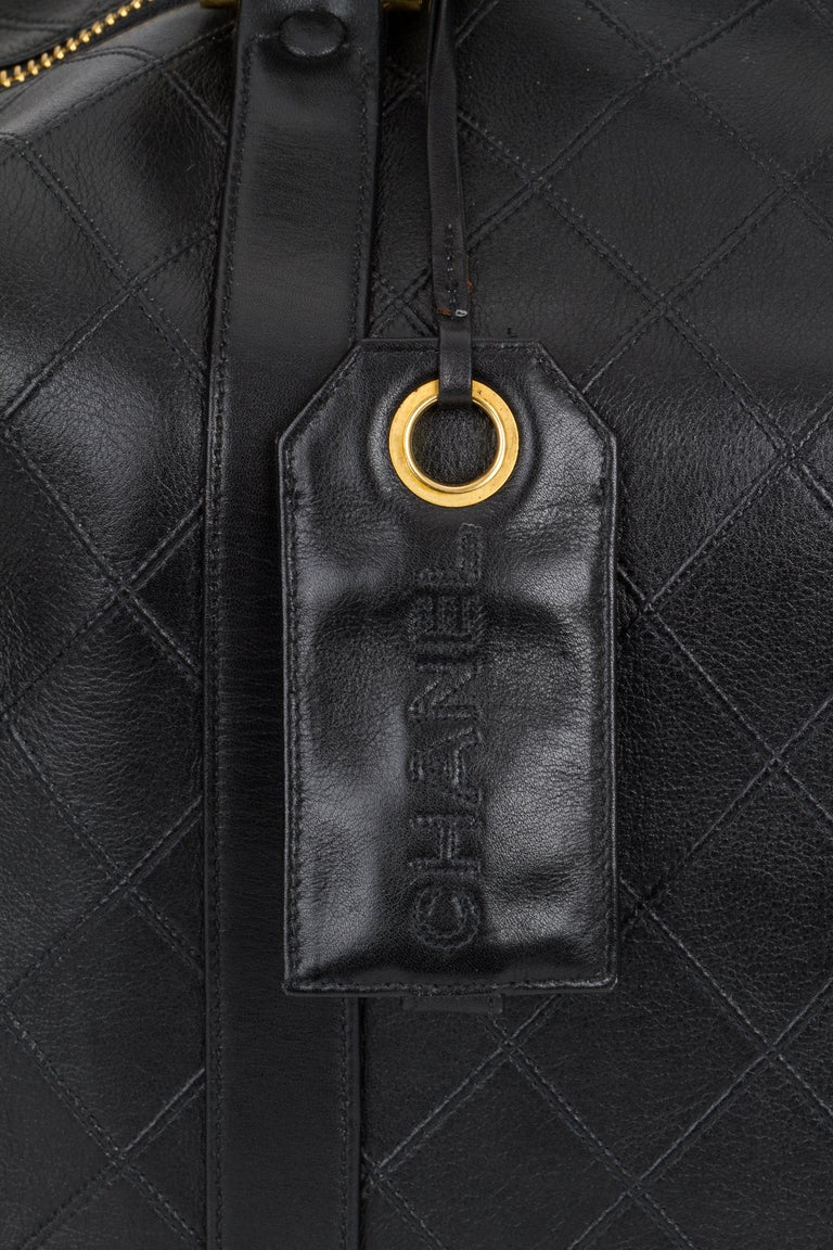 Chanel Rare Black Diamond Quilted Duffle Travel Bag For Sale 1
