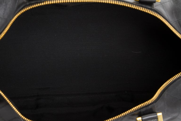 Chanel Rare Black Diamond Quilted Duffle Travel Bag For Sale 5