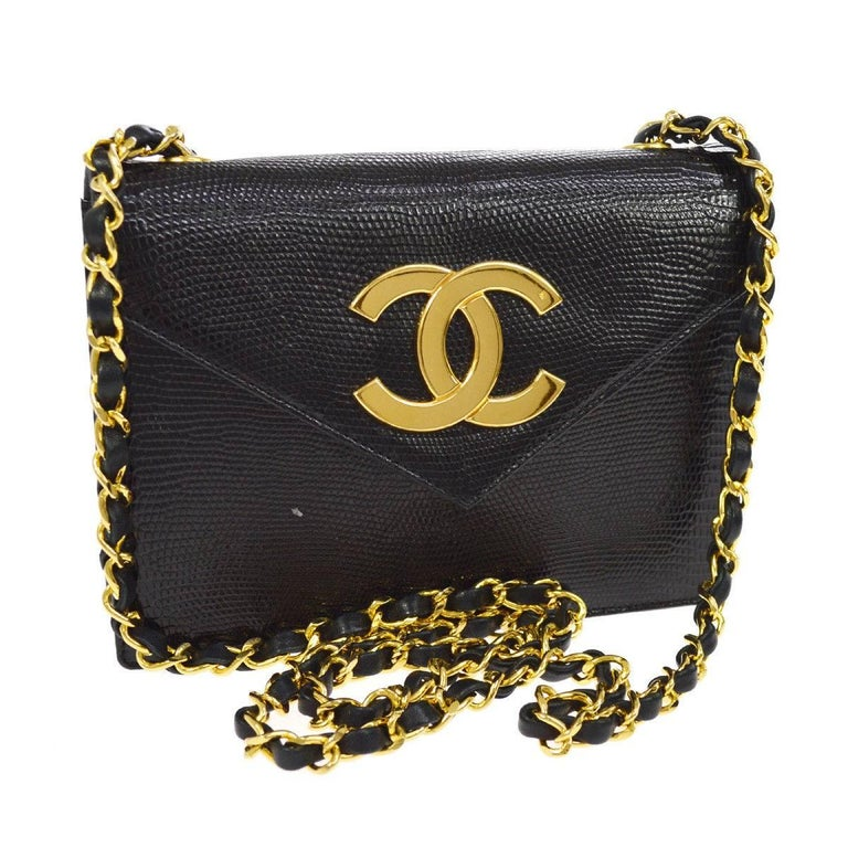 Chanel Black Exotic Leather Gold Hardware Logo Evening Shoulder Flap Bag