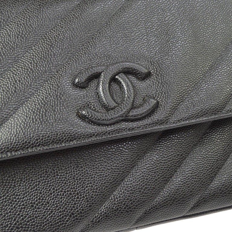 Chanel Rare Black Leather Chevron Jumbo Gold Evening Shoulder Flap Bag  Caviar leather  Gold tone hardware Leather lining Date code present Single shoulder strap drop 14