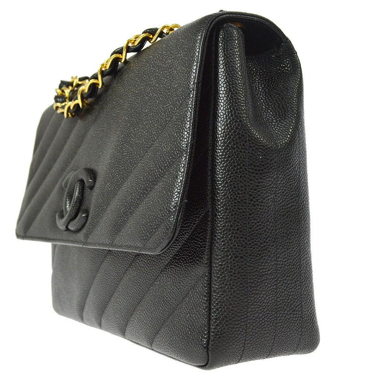 Women's Chanel Rare Black Leather Chevron Jumbo Gold Evening Shoulder Flap Bag For Sale