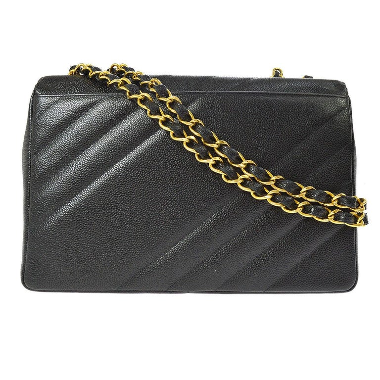 Chanel Rare Black Leather Chevron Jumbo Gold Evening Shoulder Flap Bag For Sale 1