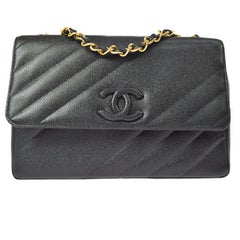 Chanel Rare Black Leather Chevron Jumbo Gold Evening Shoulder Flap Bag