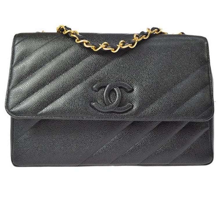 f7896bd13f2a Chanel Rare Black Leather Chevron Jumbo Gold Evening Shoulder Flap Bag For  Sale
