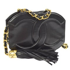 Chanel Black Leather Gold Charm Evening Party Crossbody Camera Shoulder Bag