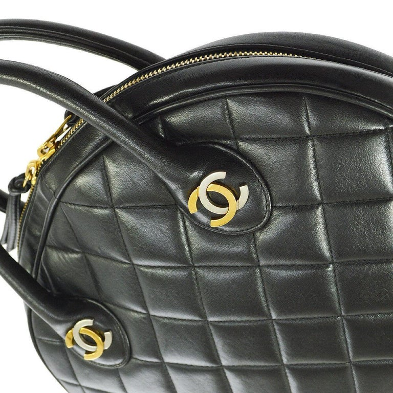 Chanel Rare Black Quilted Leather Gold Silver Top Handle Satchel Bowling Bag  Leather Gold and silver tone hardware Zipper closure Leather lining Date code present Made in France Handle drop 3