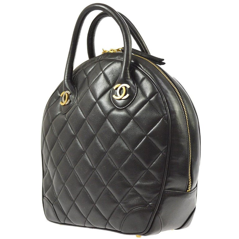 Chanel Rare Black Quilted Leather Gold Silver Top Handle Satchel Bowling Bag In Good Condition For Sale In Chicago, IL