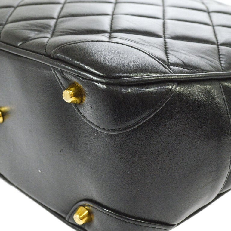 Chanel Rare Black Quilted Leather Gold Silver Top Handle Satchel Bowling Bag For Sale 1