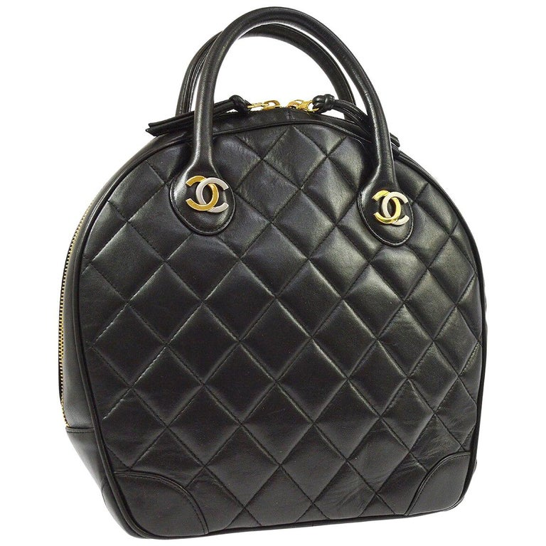 Chanel Rare Black Quilted Leather Gold Silver Top Handle Satchel Bowling Bag For Sale