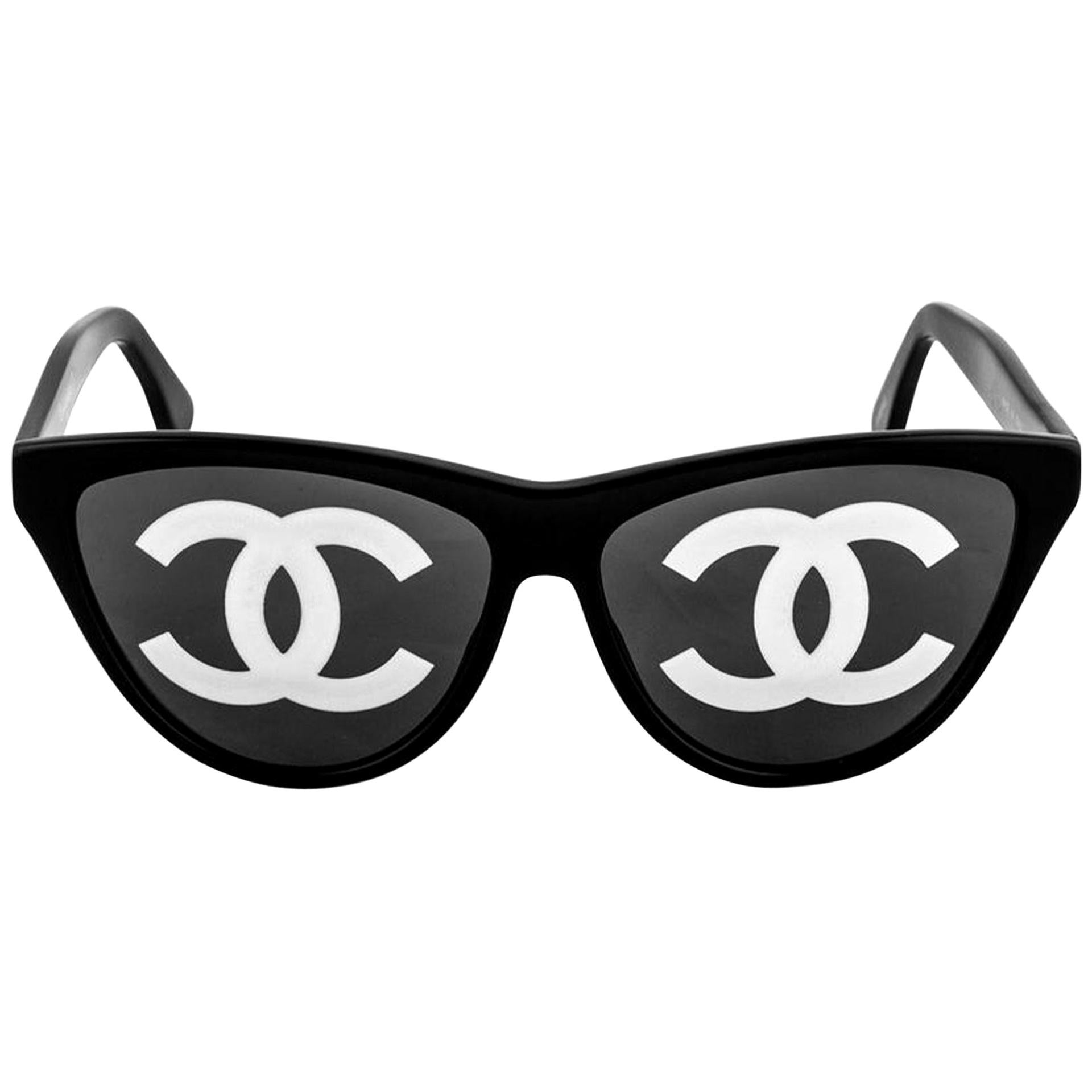 Chanel Ultra Rare Black Vintage Runway CC Logo Sunglasses