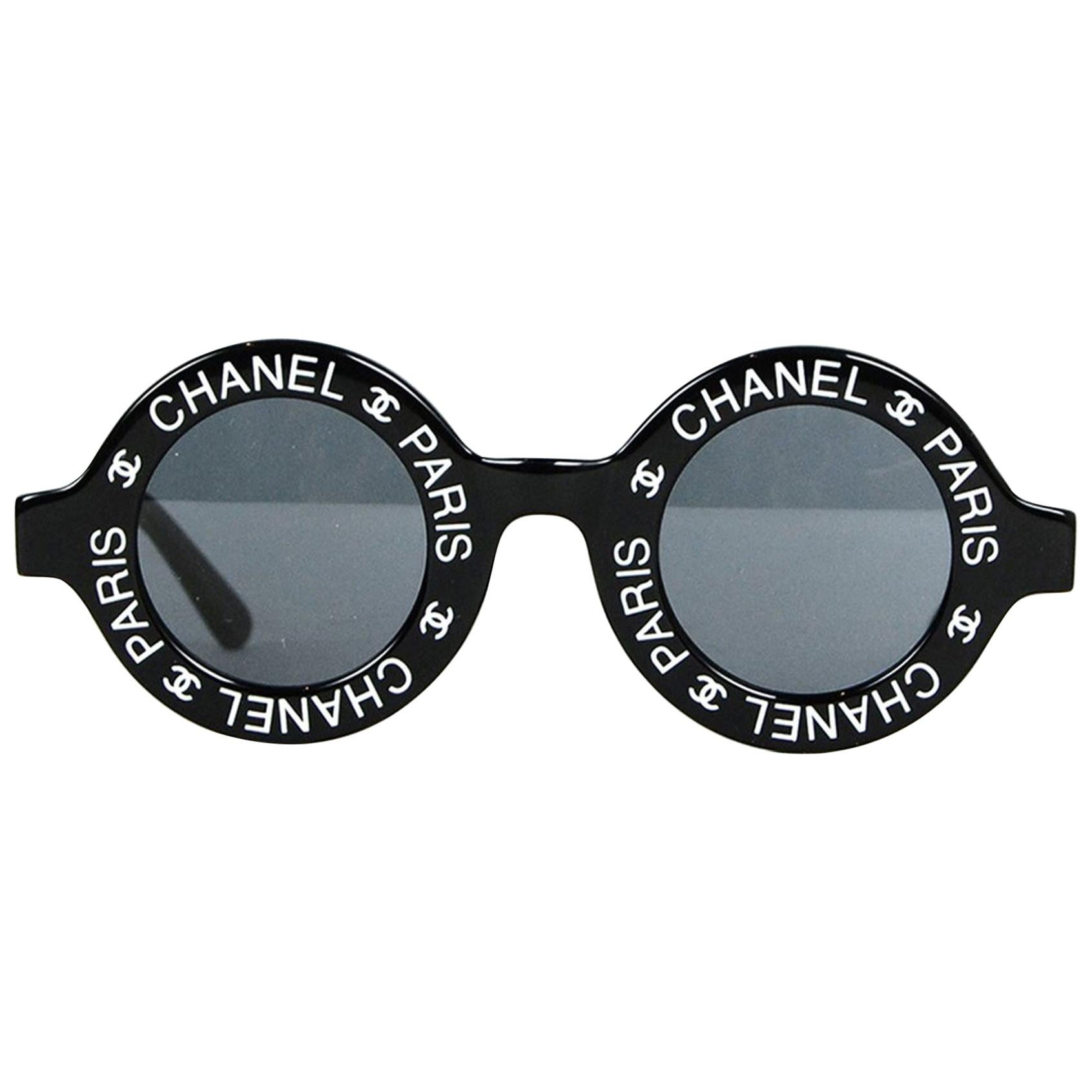 Chanel Rare Black Vintage 90's CC Paris Sunglasses