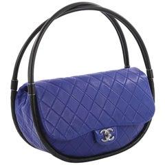 Chanel Rare Blue Medium Hula Hoop Quilted Lambskin Bag