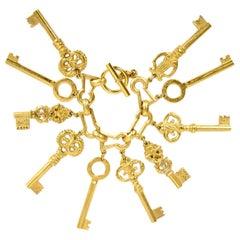 Chanel RARE COLLECTOR'S 1993 Iconic Vintage Gold CC Key Charm Bracelet