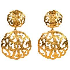 Chanel Rare Gold Tone Gilt CC Logo Clip on Dangle Earrings