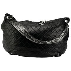 Chanel Rare Jumbo Hobo Limited Edition Mesh Chain Quilted Black Lambskin Leather