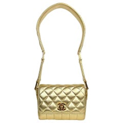 Chanel Rare Limited Edition 90s Runway Gold Metallic Quilted Lambskin Micro Mini
