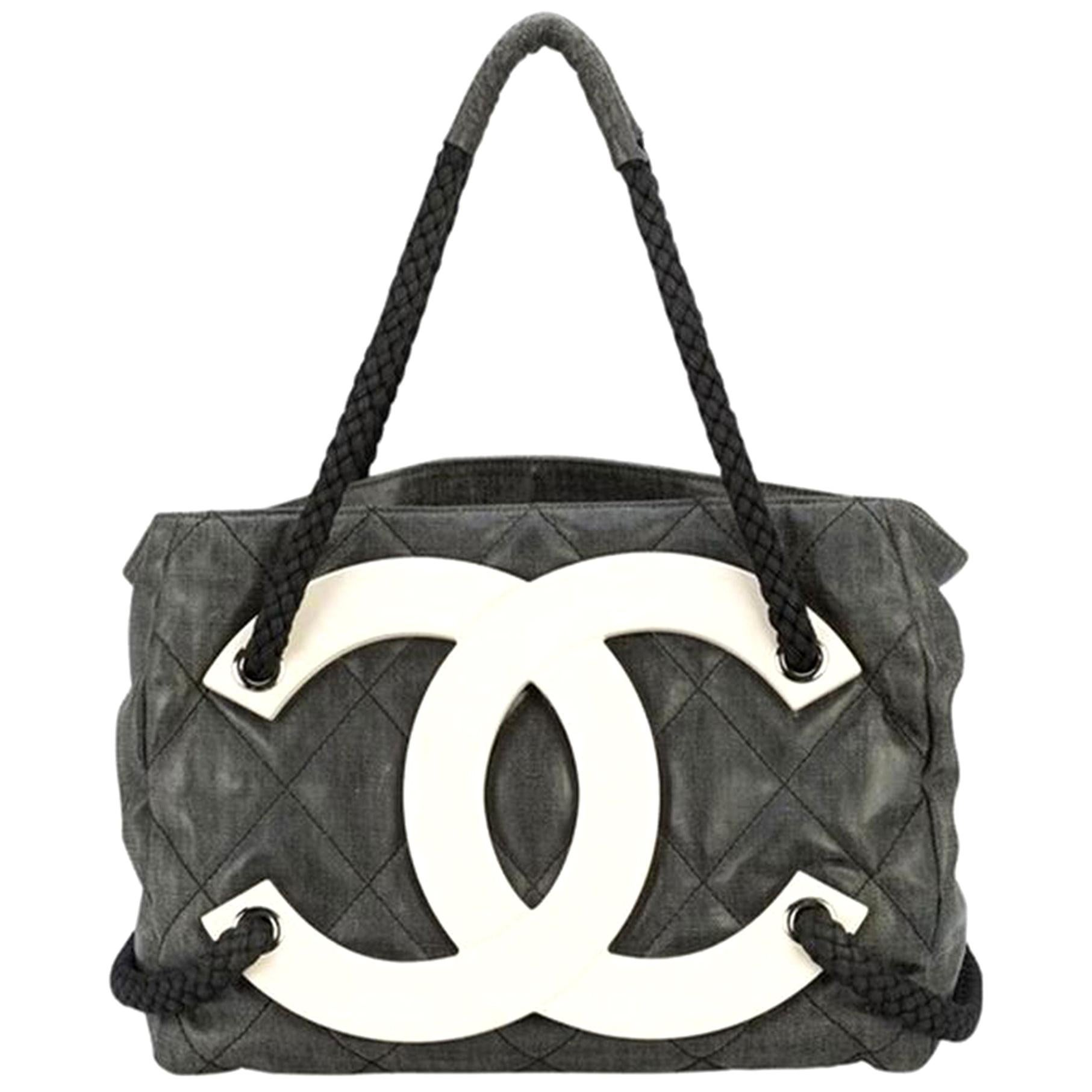 Chanel Rare Limited Edition Cruise Yacht Nautical Beach Black Coated Canvas Tote