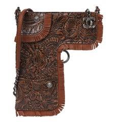 Chanel Rare Limited Edition Fringe Brown Embossed Gun Bag Holster Crossbody Bag
