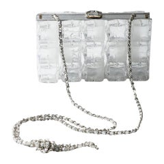 Chanel Rare Limited Edition Ice Cube Minaudiere Silver Plexiglass Clutch