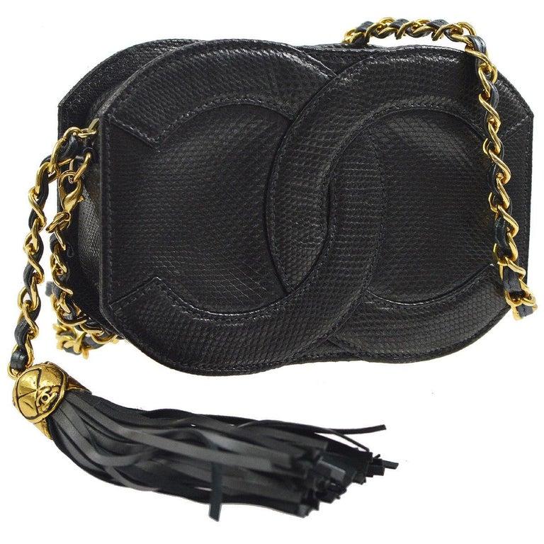 6dd7e8d5589d41 Black Chanel Rare Lizard Leather Gold Evening Small Party CC Shoulder Flap  Bag For Sale