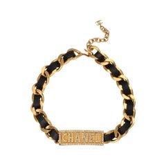 Chanel Rare Logo Plate ID Choker Necklace with Rhinestones