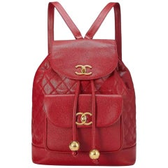 Chanel Rare Maxi Jumbo Quilted Vintage 90s Red Caviar Leather Backpack